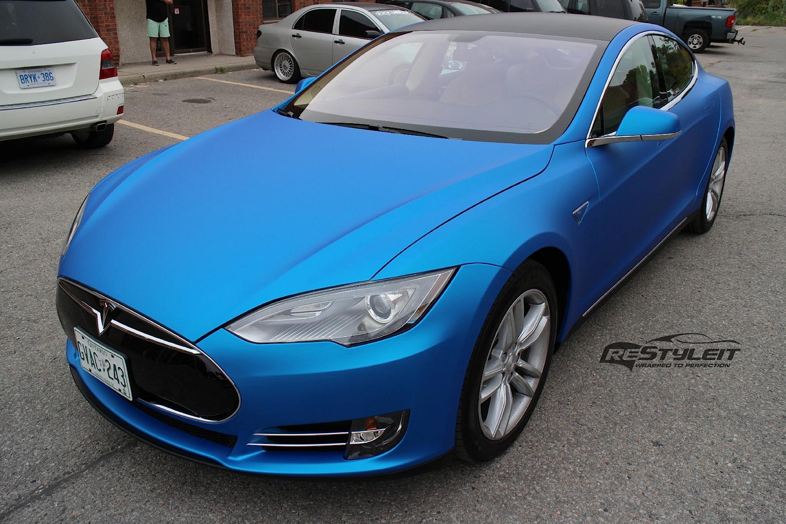 Tesla Model S Gets Matte Blue Aluminum Wrap Autoevolution