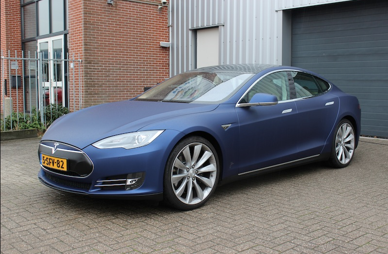 Tesla Model S Gets Matte Metallic Blue Wrap From Jd