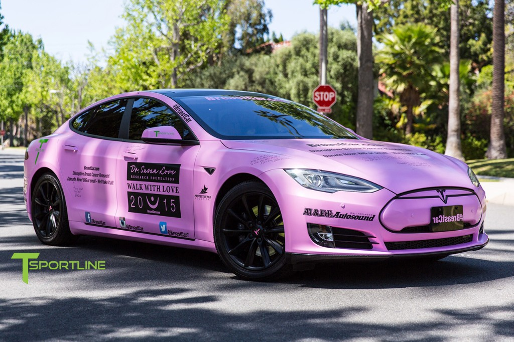 Tesla Model S Goes Pink To Support Breast Cancer Awareness