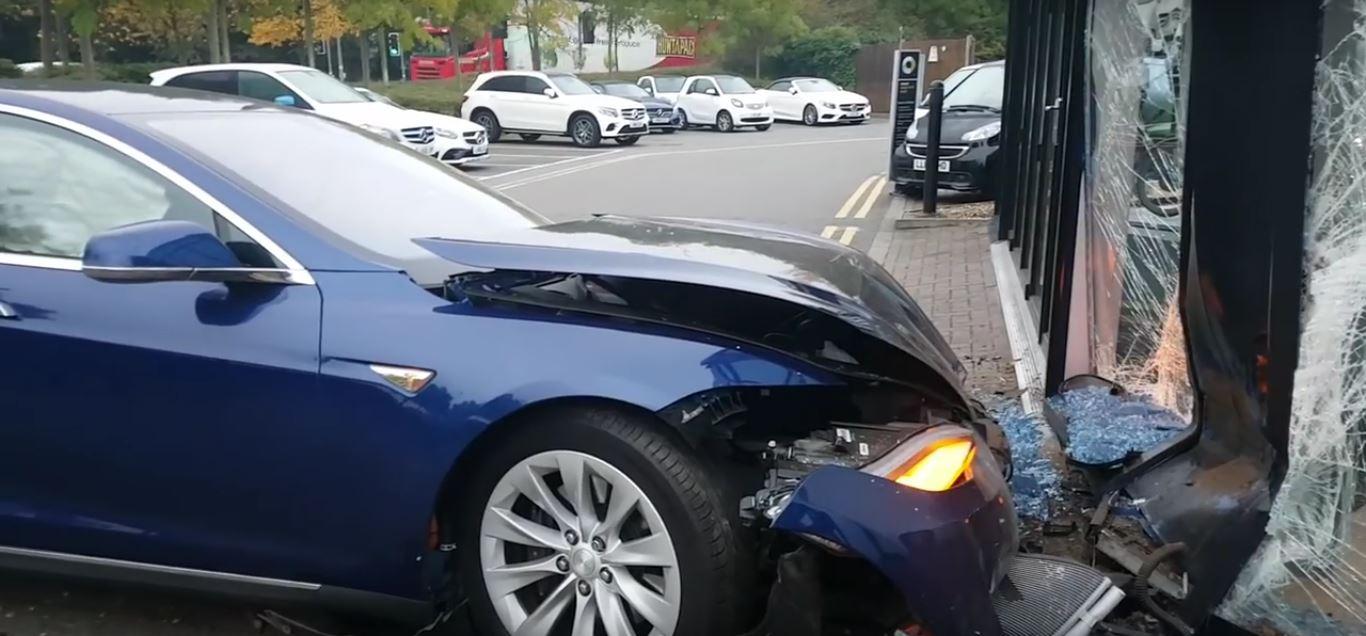 Tesla Model S Crashes Into British Mercedes Benz Dealership