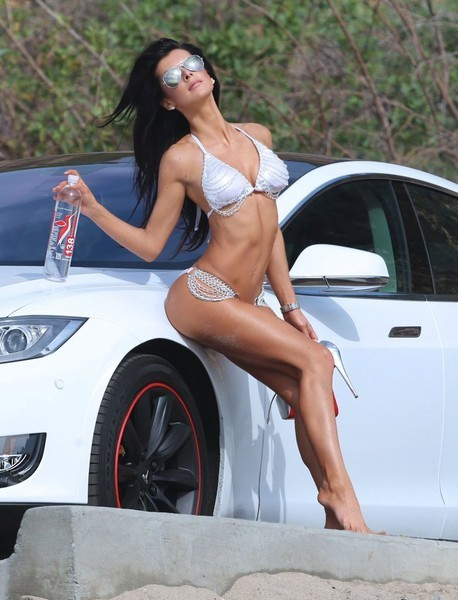 Sexy Babe Leans Against Tesla Model S in Photo Shoot for ...