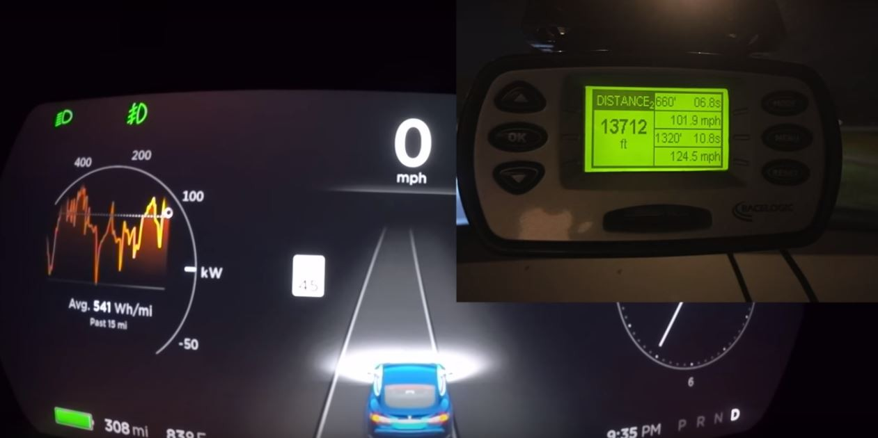 Tesla Model S P100D Ludicrous Runs 10 7s 1/4-Mile, Beats Corvette
