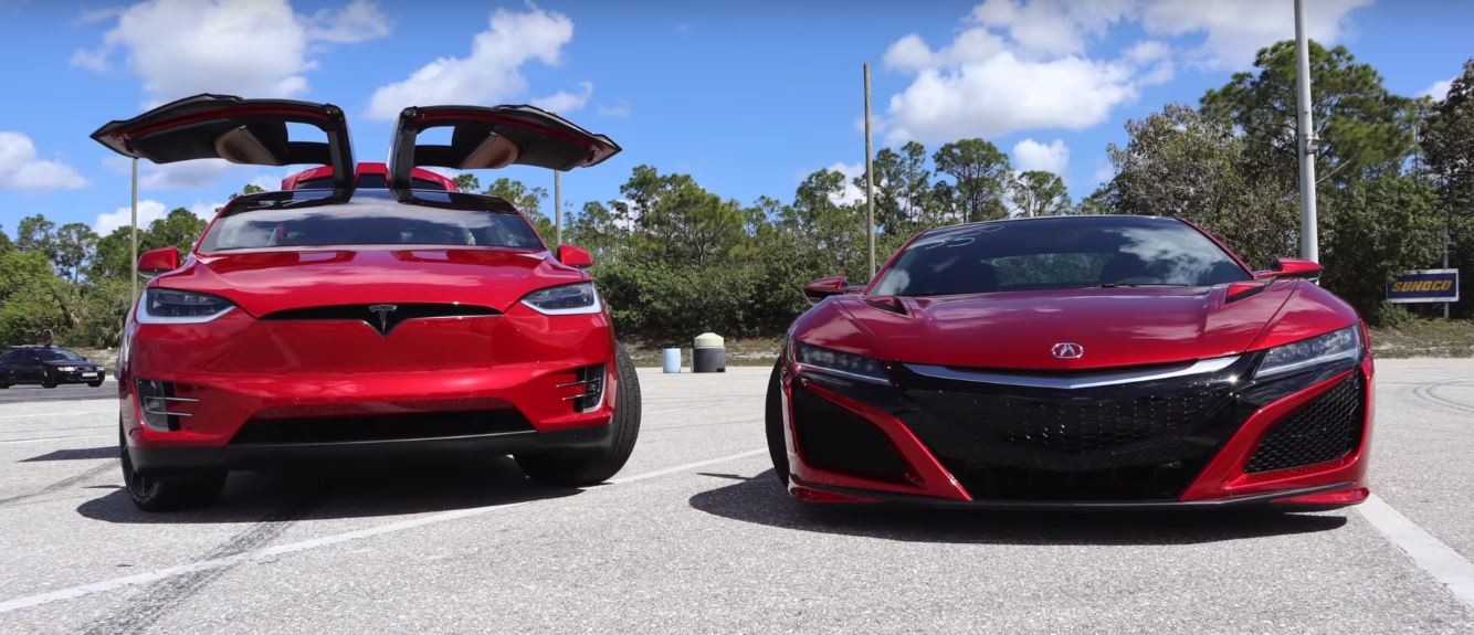 Tesla Model X P100D vs  Acura NSX Drag Race Is Decided by a