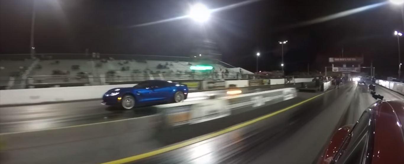 Tesla Model S P100d Vs Corvette Z06 Drag Race