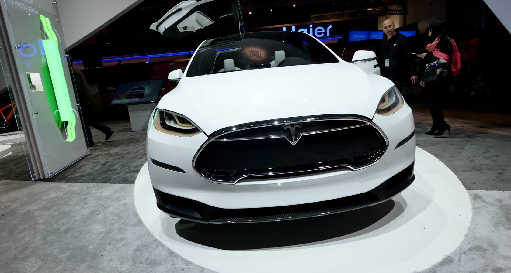 Tesla Model X Electric Crossover Displayed At The