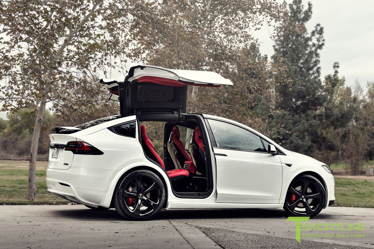 This Tesla Model X Has A Bespoke Bentley Red Leather