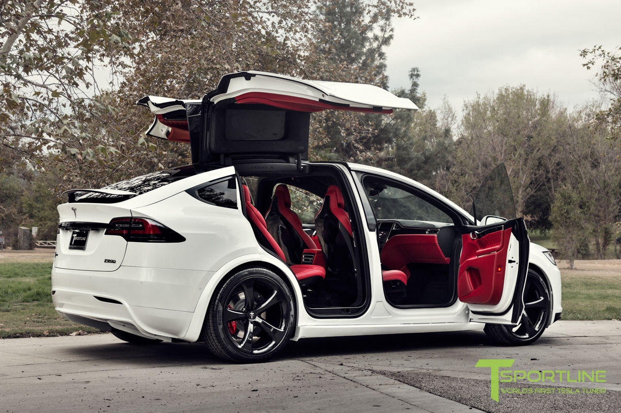 this tesla model x has a bespoke bentley red leather interior costs 180 000 autoevolution. Black Bedroom Furniture Sets. Home Design Ideas
