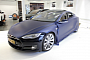 Tesla Model S Gets Matte Metallic Blue Wrap