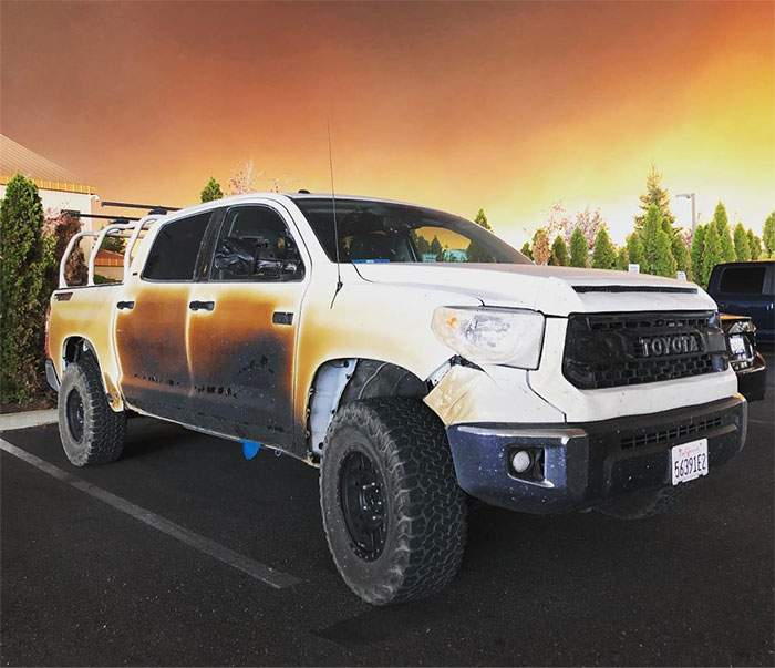 Toyota Offers to Replace Burned Tundra Used to Save People From Camp Fire - autoevolution