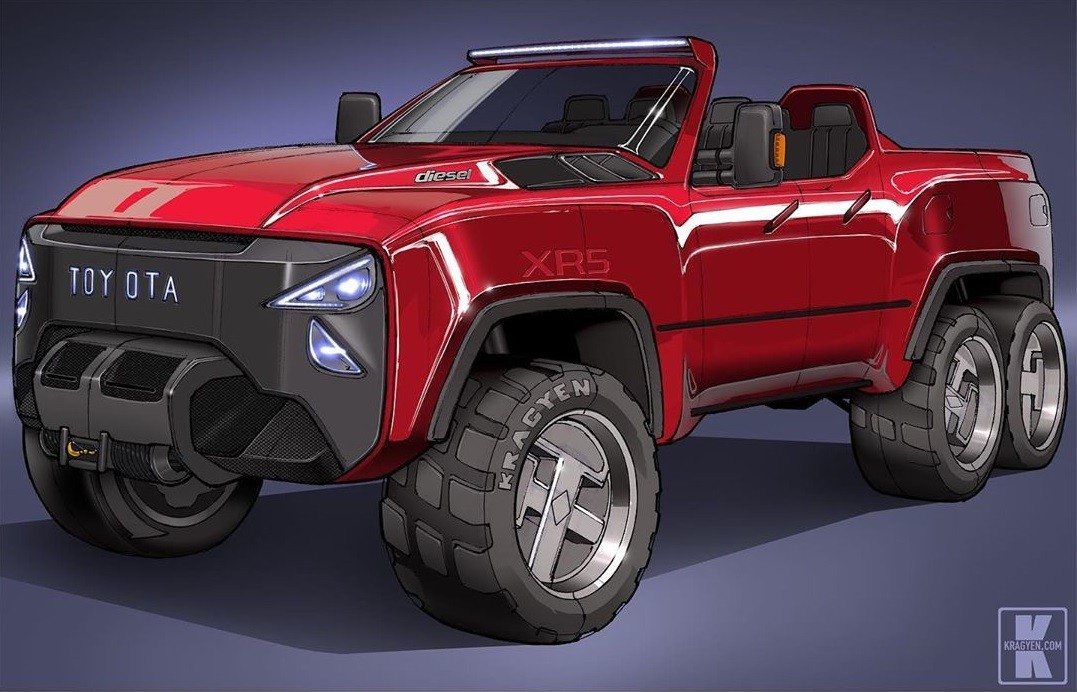 Toyota Xr5 6x6 Pickup Truck Rendering Was Dreamed Up By A Ten Year Old Autoevolution
