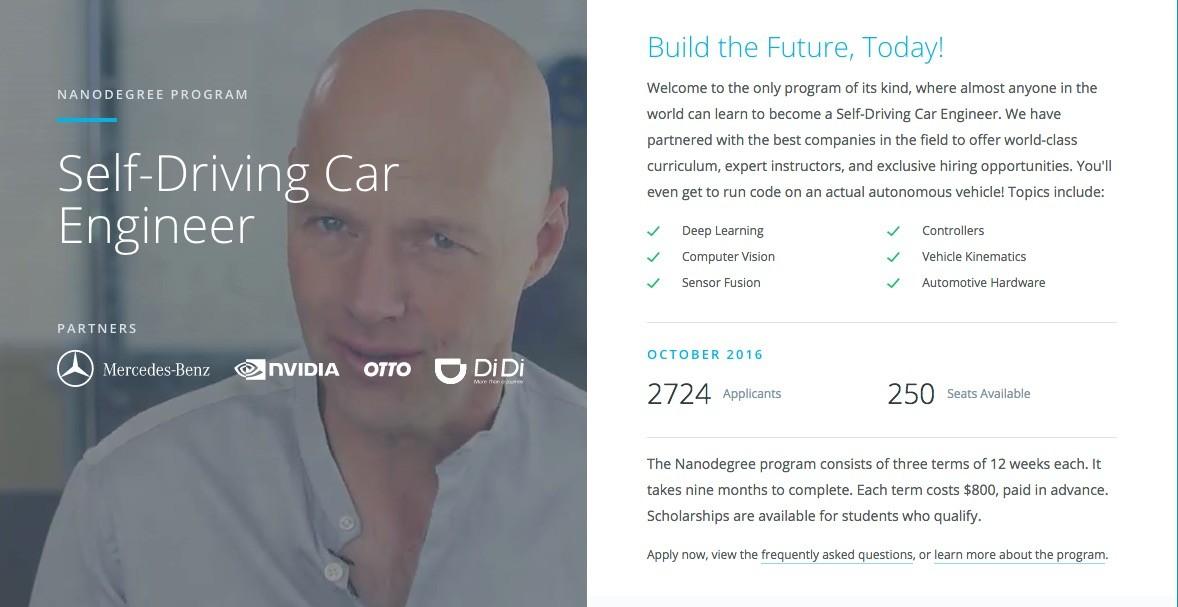 Udacity Opens Nanodegree Program For Self-Driving Car Engineers