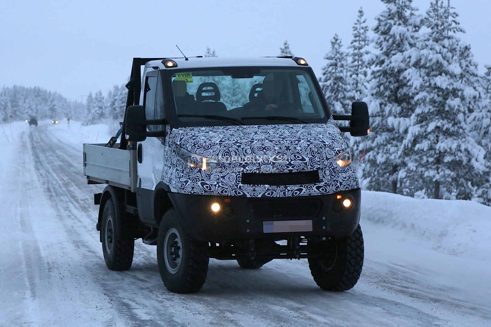 Unimog rivaling iveco daily 4x4 spied for the first time autoevolution
