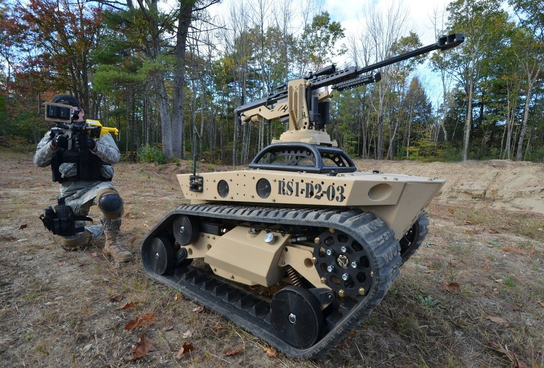 Unmanned Tracked Vehicle With A 50 Caliber Gun Reminds Us