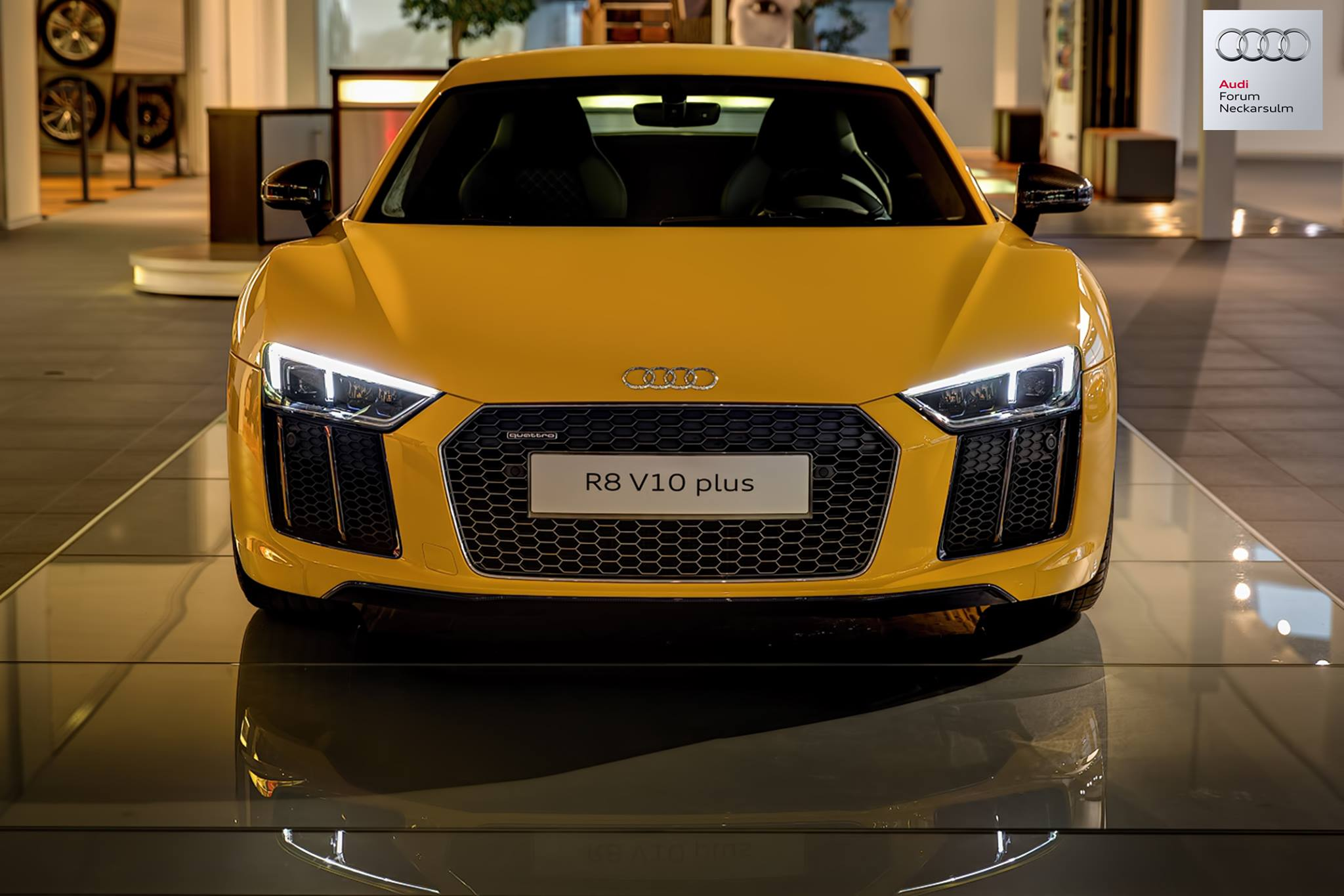 Vegas Yellow 2016 Audi R8 V10 Plus Arrives At Audi Forum Neckarsulm