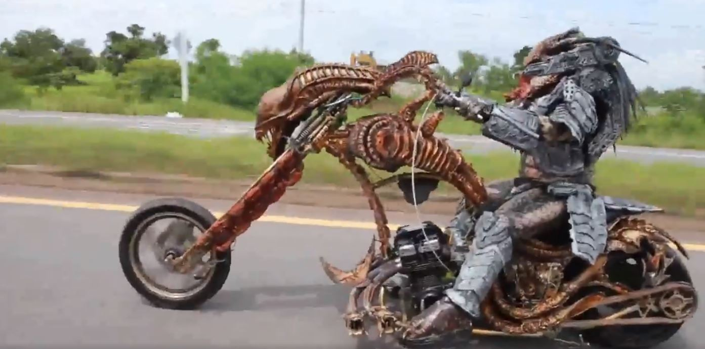 video of predator riding alien bike to work is too awesome