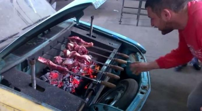 VW Brasilia Turned into Front-Grilled BBQ With Flat-4 Rotisserie - autoevolution