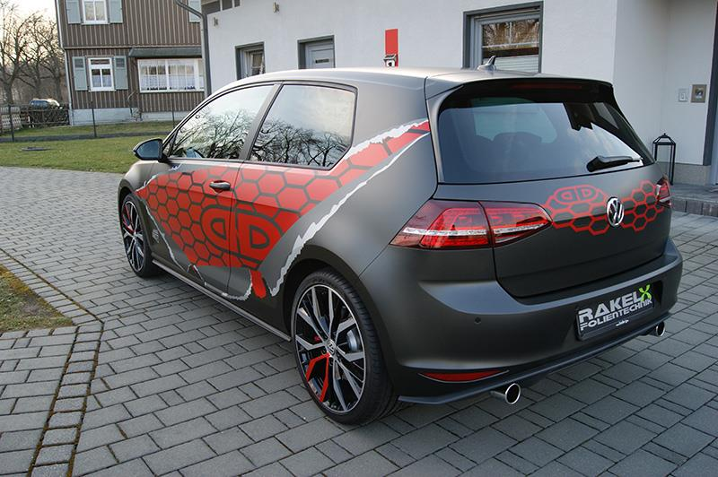 VW Golf 7 GTI Gets Red Honeycomb Wrap in Germany - autoevolution