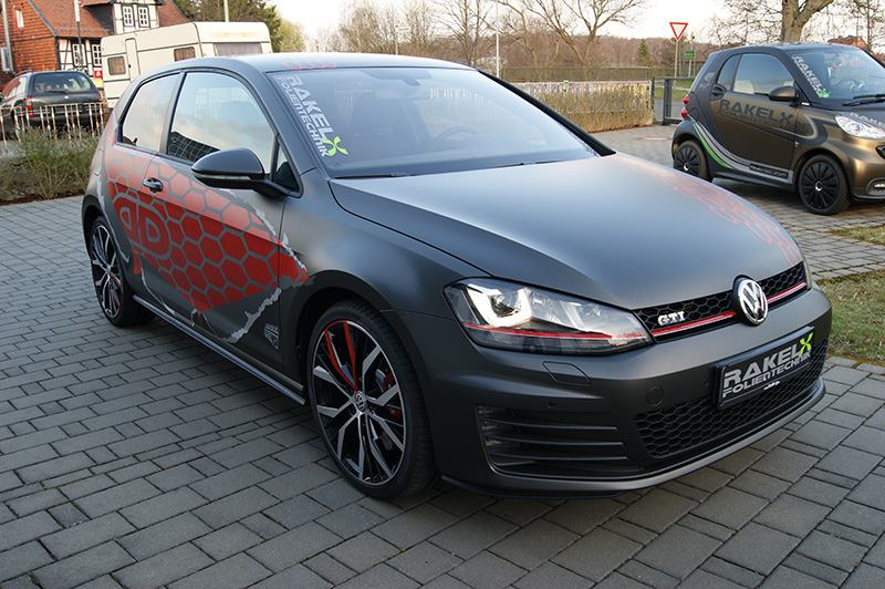 Vw Golf 7 Gti Gets Red Honeycomb Wrap In Germany