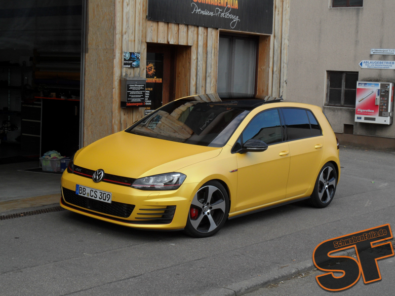 vw golf 7 gti gets sunflower matte metallic wrap autoevolution. Black Bedroom Furniture Sets. Home Design Ideas