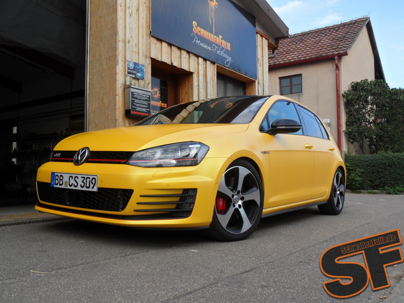 Vw Golf 7 Gti Gets Sunflower Matte Metallic Wrap