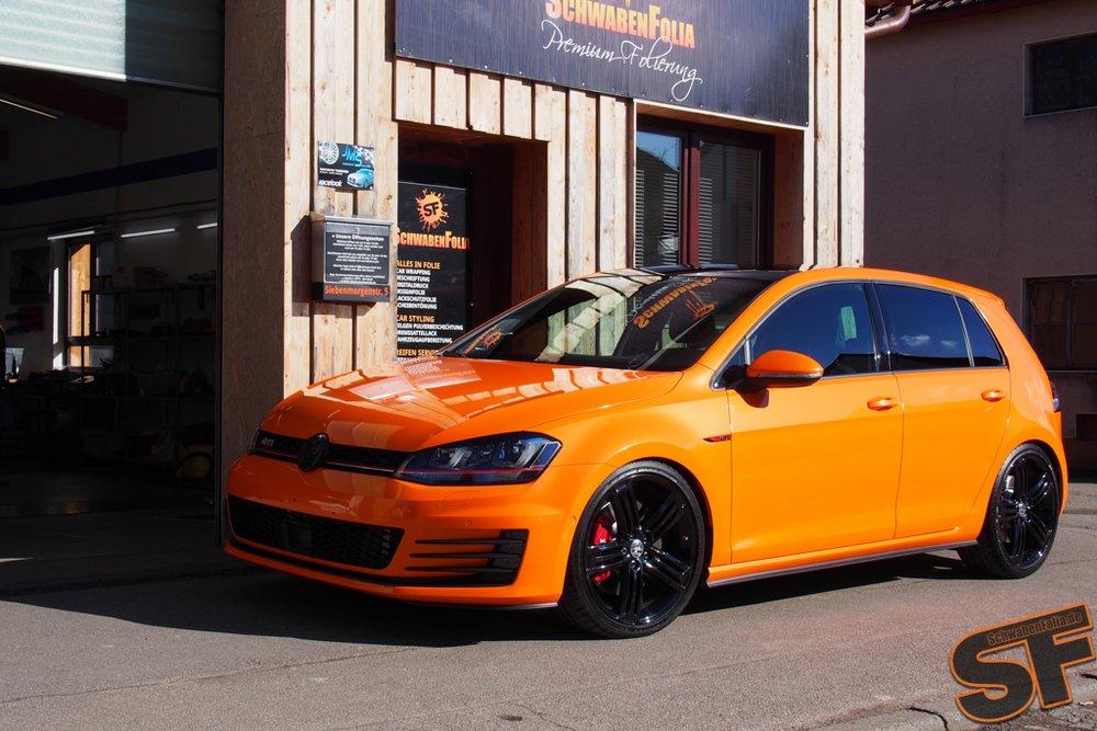 Vw Golf 7 Gti Gets Toxic Orange Wrap Autoevolution