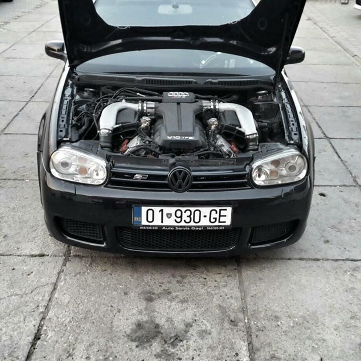 Twin Turbo Kit For Audi Rs4: VW Golf With Audi RS Twin-Turbo V10 Engine Has A Heavy