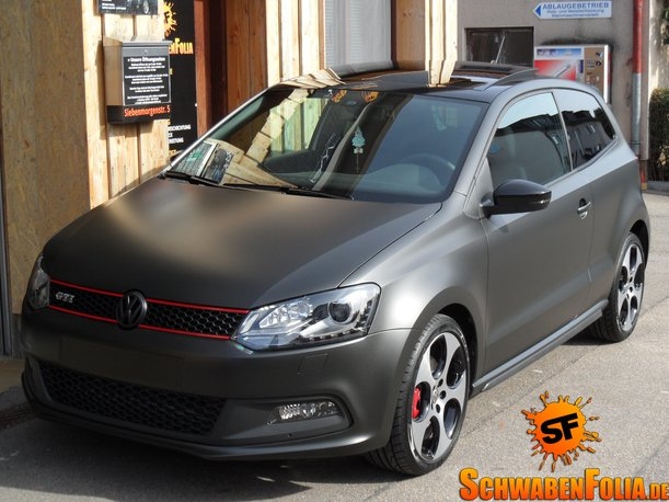 VW Polo GTI Gets Diamond Matte Black Wrap - autoevolution
