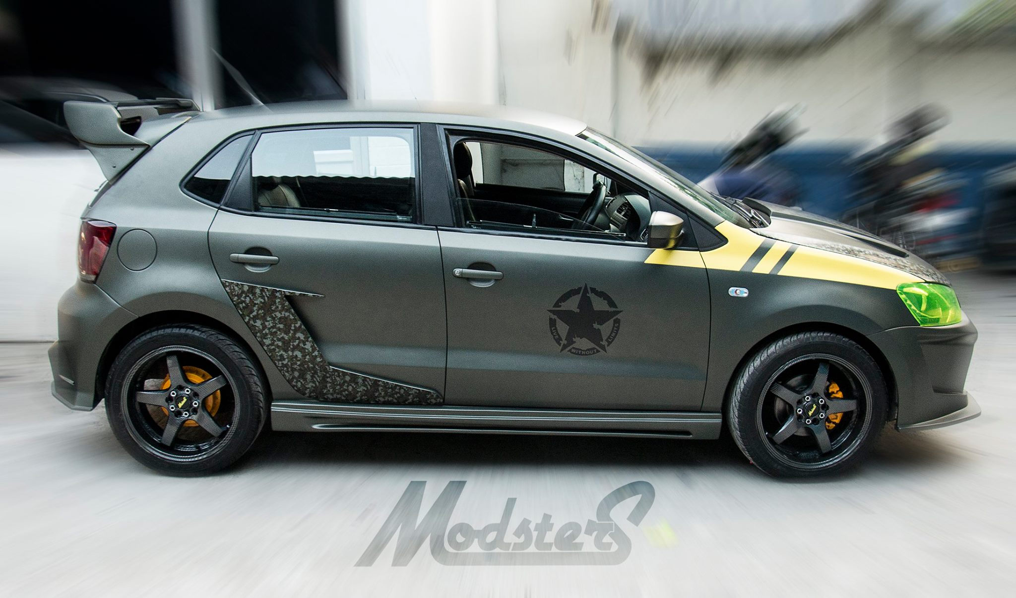 Vw Polo Tuning Combines Fake Carbon With Drum Brakes And Four Exhausts Autoevolution