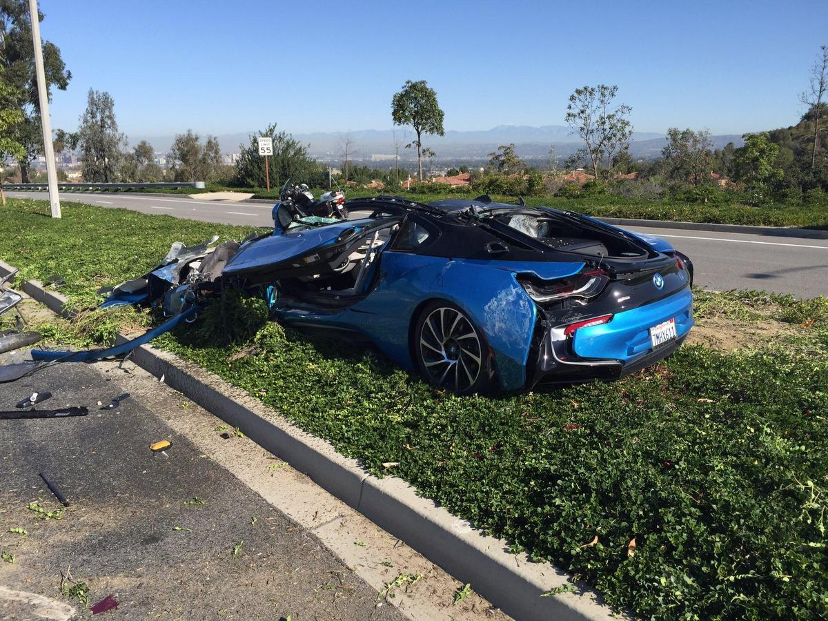 Weird Accident Involves A Bmw I8 A Cement Truck And A Gardening