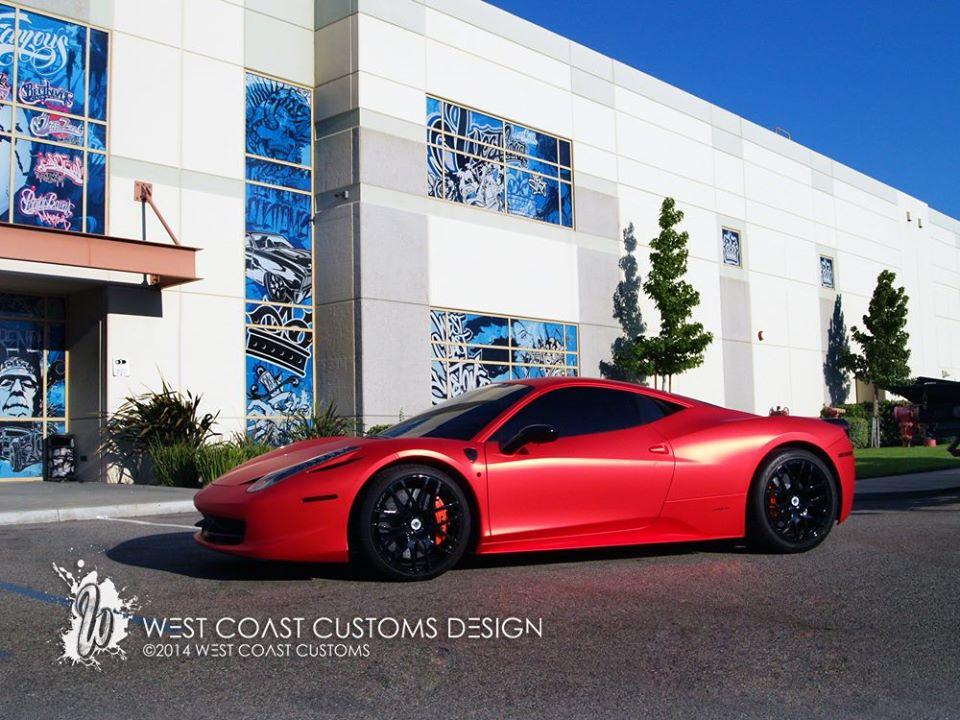 west coast customs shares photos of satin red ferrari 458 wrap for justin bieber autoevolution. Black Bedroom Furniture Sets. Home Design Ideas