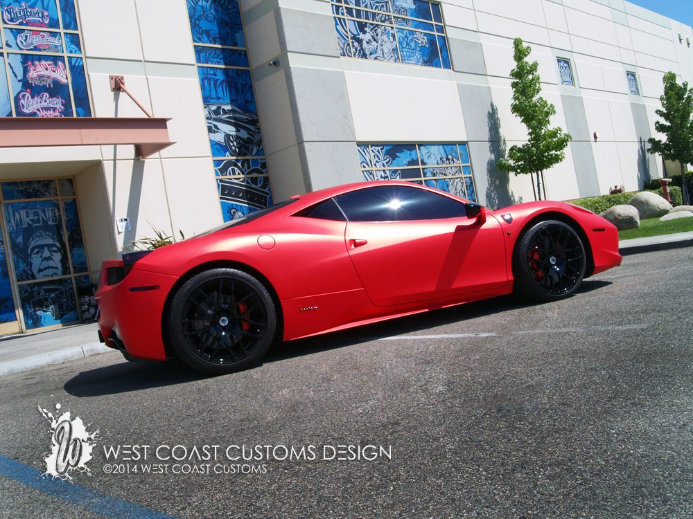 West Coast Customs Shares Photos of Satin Red Ferrari 458 ...