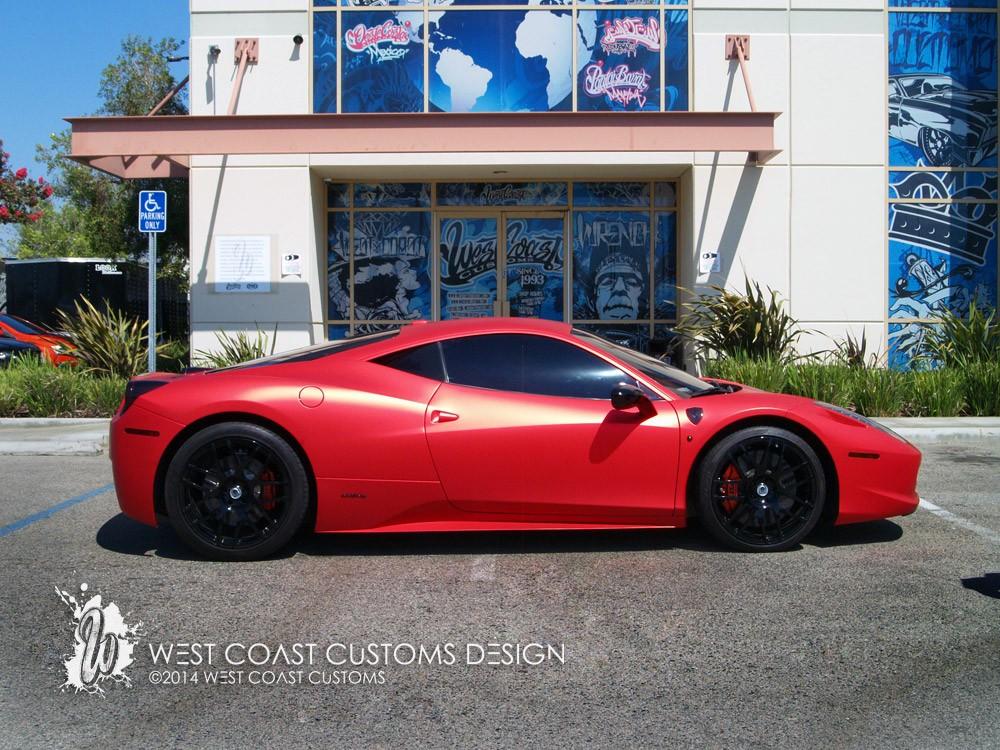 West Coast Customs Shares Photos Of Satin Red Ferrari 458