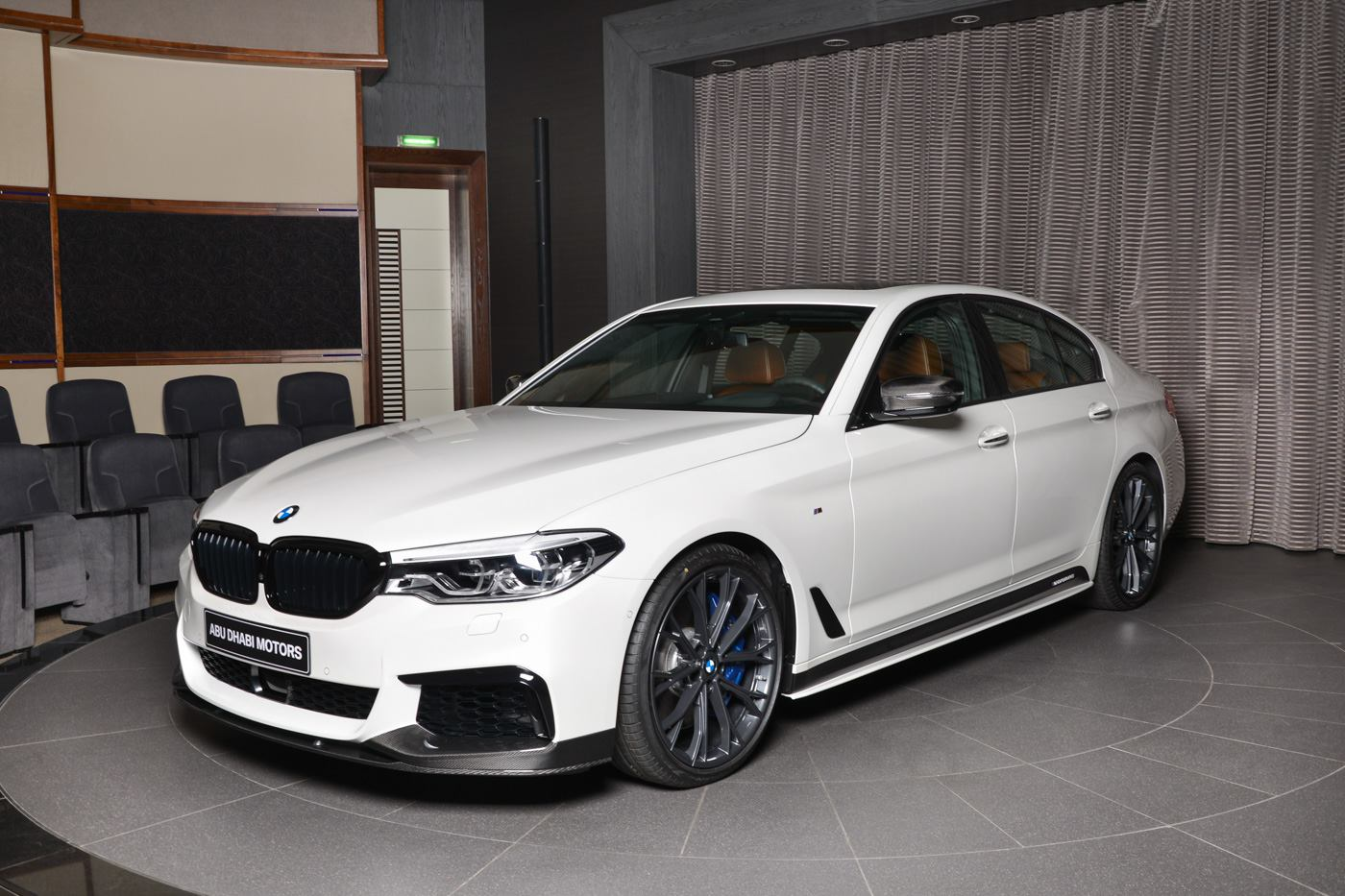 white bmw m550i xdrive with m performance body kit is a. Black Bedroom Furniture Sets. Home Design Ideas