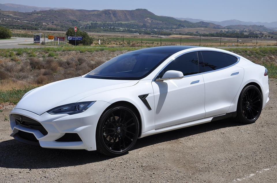 White Tesla Model S With Larte Design Elizabeta Kit Looks