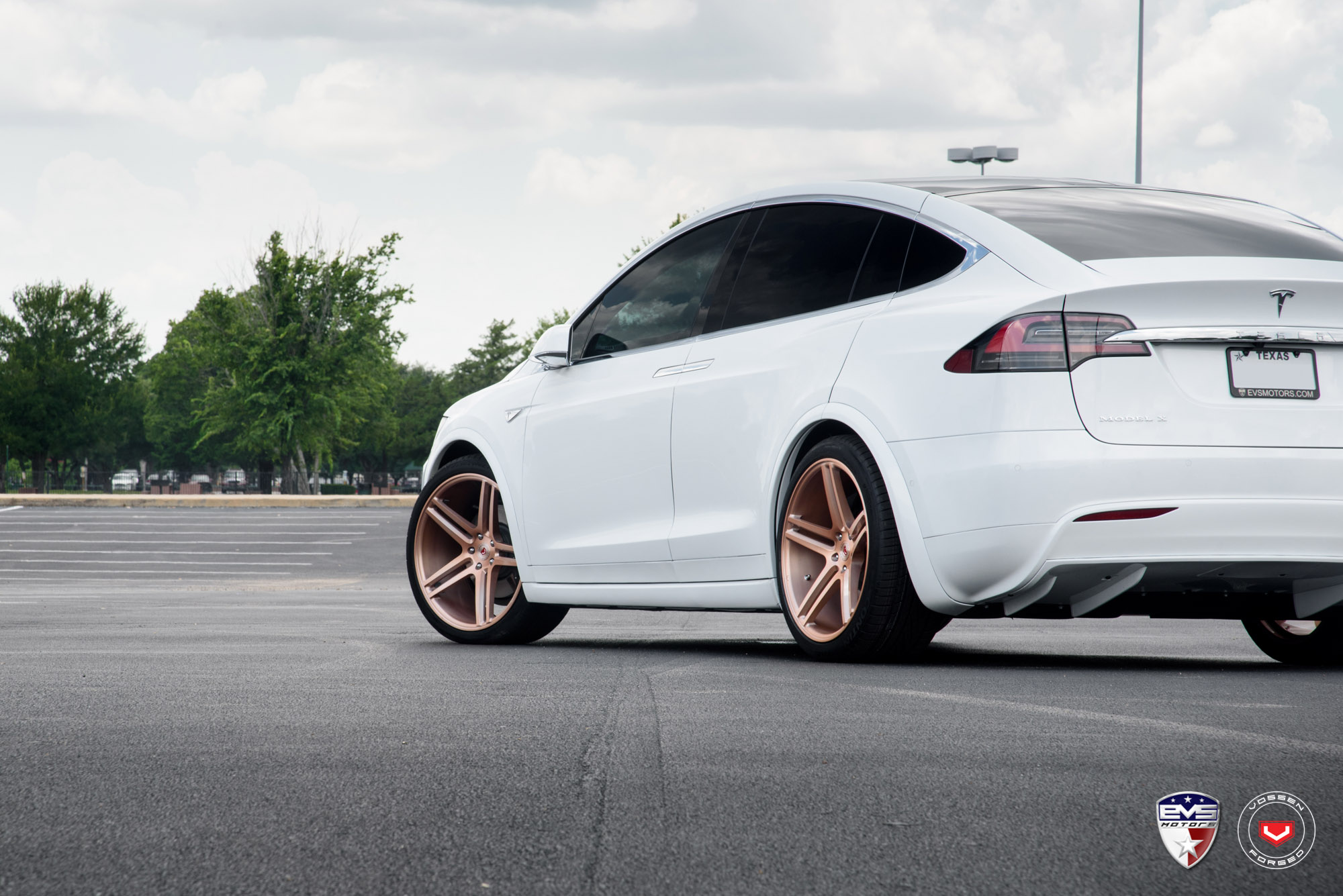 Tesla Model S Lease >> White Tesla Model X Sits on Gold Vossen Forged Wheels ...