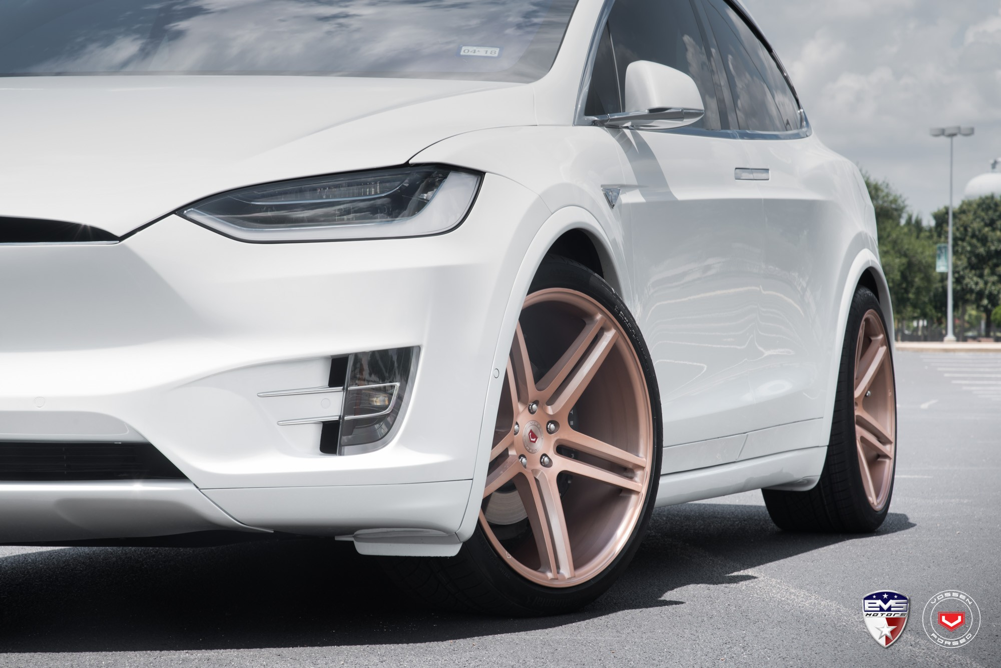 White Tesla Model X Sits on Gold Vossen Forged Wheels ...
