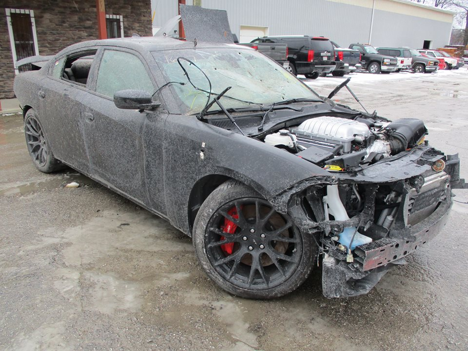 Wrecked Dodge Charger Hellcat Shows Up For Sale Is Full Of Bullet