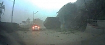 Giant Rock Falls from Mountain, Almost Smashing Car in Taiwan [Video]