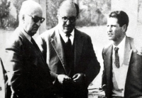 Enzo Ferrari, Carlo Chiti and a young Giotto Bizzarrini (from left to right)