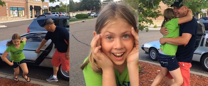girl finding out parents bought a delorean is the cutest