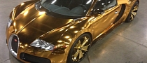 Gold Chrome-wrapped Bugatti Veyron Owned by Flo Rida Looks Grotesque