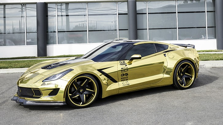 Gold chrome wrapped corvette is as flashy as they come video photo gallery autoevolution