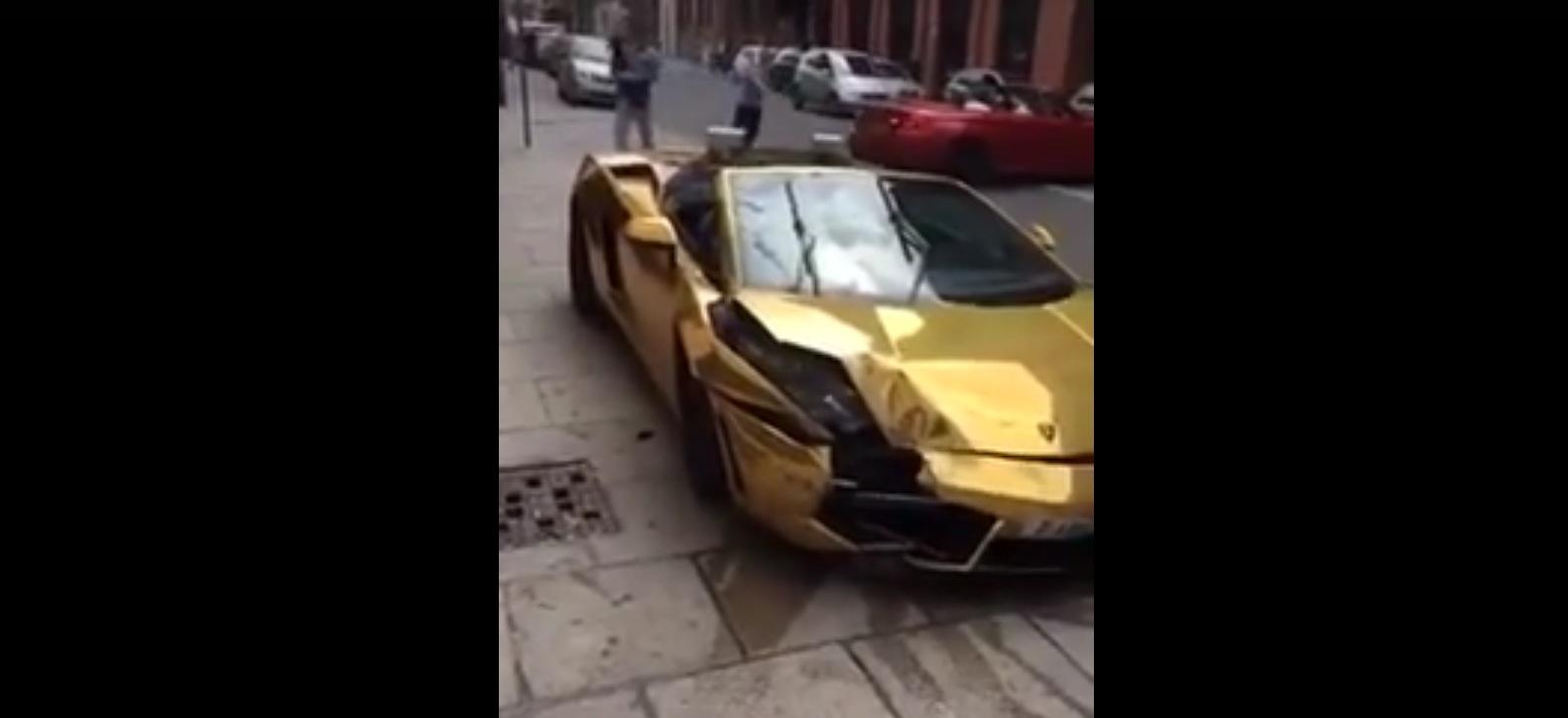 Gold Wrapped Lamborghini Gallardo Crashes In Liverpool