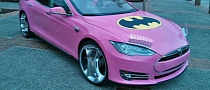 Google Co-Founder Sergey Brin Drives Pink Tesla