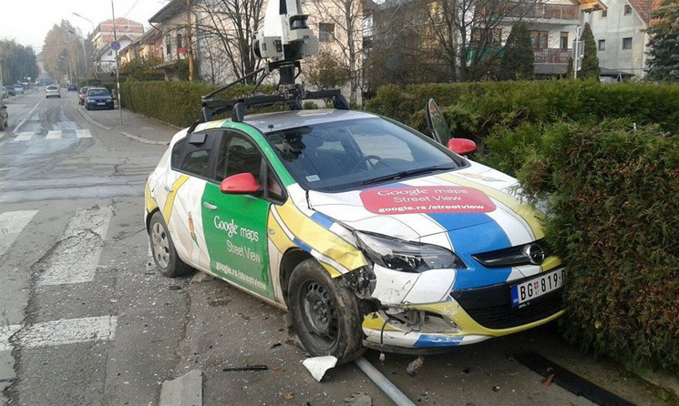 google maps street view car crashes into a pole in serbia. Black Bedroom Furniture Sets. Home Design Ideas