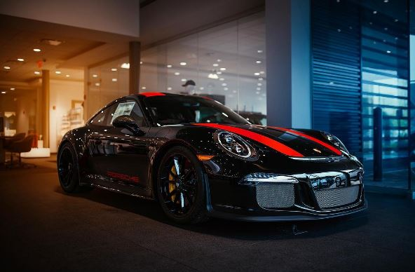 gorgeous black porsche 911 r with red stripes is up for grabs