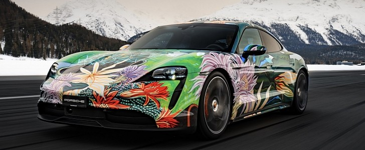 "Gorgeous Porsche Taycan ""Queen of the Night"" Artcar Sells for $200,000"