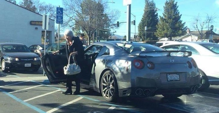 Granny Drives Nissan Gt R To The Supermarket Practical