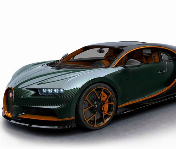 Green Carbon Bugatti Chiron With Orange Details Has A