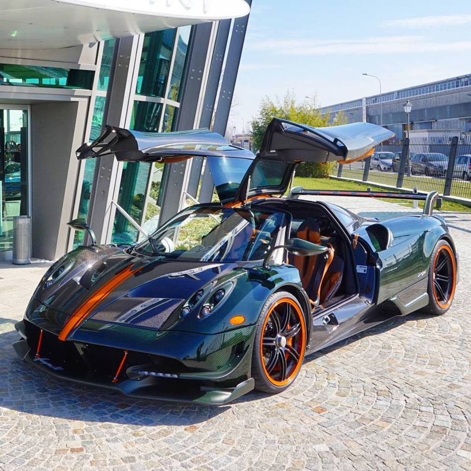 Green Carbon Pagani Huayra BC with Orange Details Is an Instagram ...